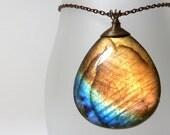 Labradorite necklace - RESERVED - teardrop stone pendant - ''Sun on the horizon'