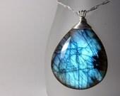 Labradorite necklace - teardrop stone pendant - ''Stone cold''