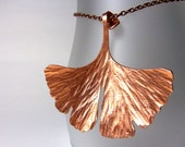 Copper ginkgo leaf necklace - hammered copper pendant - ''Biloba''