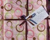 Extra Large Dots and Circles Baby Blanket and 2 Burp Cloth Set - 38 X 38