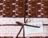SALE - Large Pink and Brown Vines Flannel and Minky Dot Baby Blanket - 34 X 40
