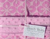 Large Pink Flannel and Minky Dot Baby Blanket - 34 X 40