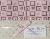 Large Pink Squares Flannel and Minky Dot Baby Blanket - 34 X 40