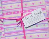 SALE - Extra Large Heart Stripe Baby Blanket and 2 Burp Cloth Set - 38 X 38