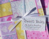 SALE - Extra Large Heart Patchwork Baby Blanket and 2 Burp Cloth Set - 38 X 38