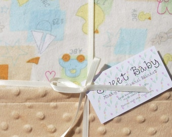 SALE - Large Baby Toys Flannel and Minky Dot Baby Blanket - 34 X 40