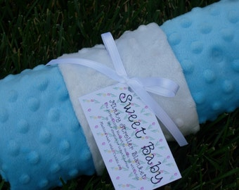 Minky Dot Baby Blanket - Turquoise and White