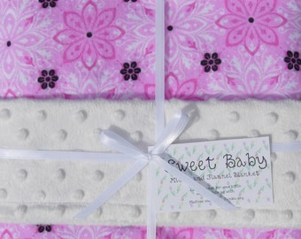 SALE - Large Pink and Black Flowers Flannel and Minky Dot Baby Blanket - 34 X 40