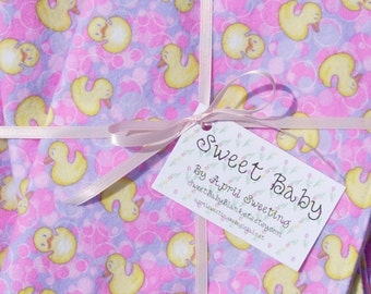 SALE - Extra Large Little Duckie Baby Blanket and 2 Burp Cloth Set - 38 X 38