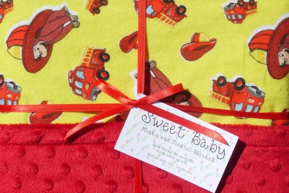 Large Firefighter Curious George Flannel and Minky Dot Baby Blanket - 33 X 40