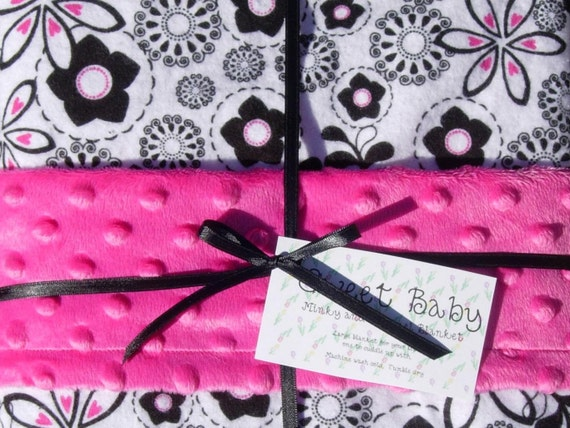 Large Black and White Flannel and Hot Pink Minky Dot Baby Blanket - 34 X 40