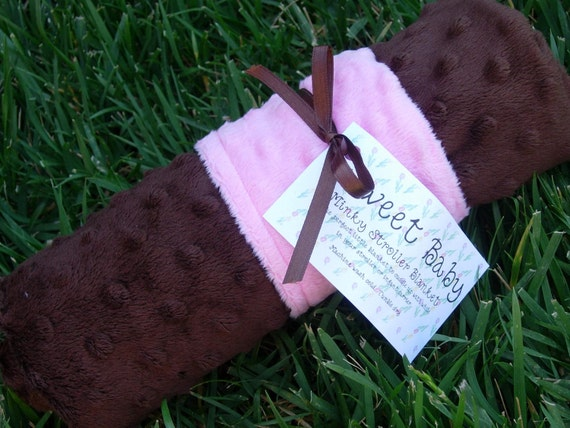 Minky Dot Baby Blanket - Pink and Brown