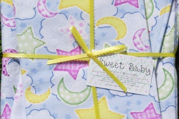 SALE - Extra Large Moon and Stars Baby Blanket and 2 Burp Cloth Set - 38 X 38