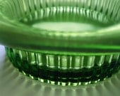 Vintage green glass compote bowl with ridge detail