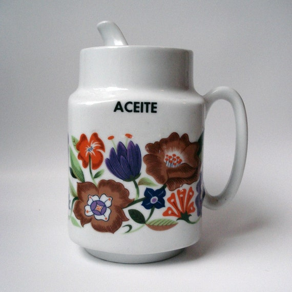 FOUND IN SPAIN - Large porcelain oil decanter by Guillen