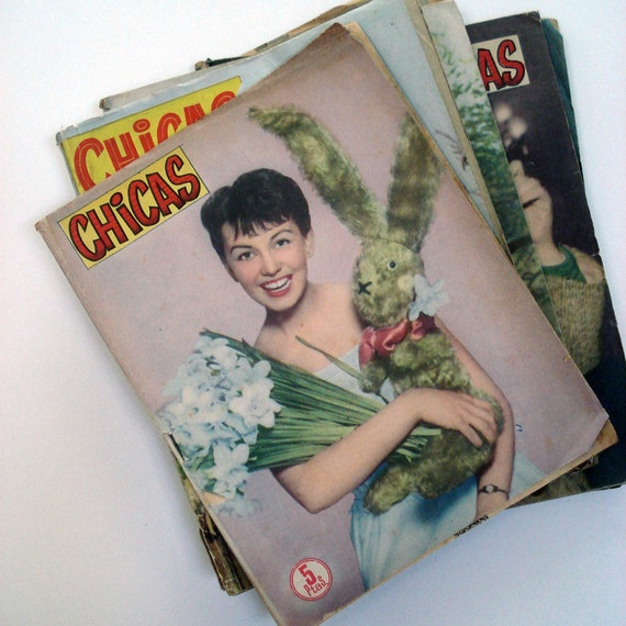 FOUND IN SPAIN --  Six editions of Chicas magazine - 1950s Spain - Lovely ladies