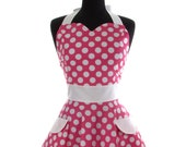 "Womens Sweetheart Neckline ""Hot Pink Minnie Dots"" Apron - Sexy in Hot Pink Polka Dots JESSIE Full Apron"