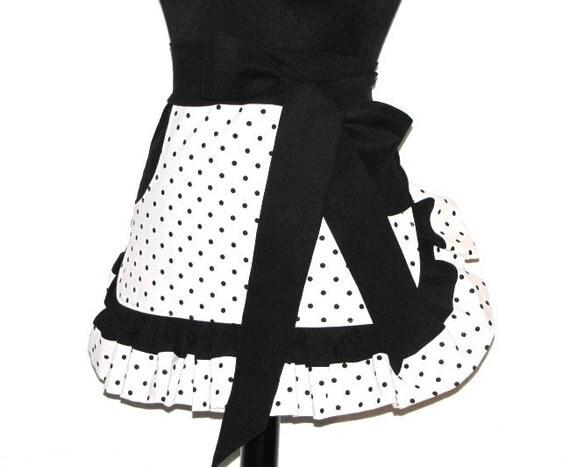 The LOLA Vintage Inspired DOTTY GIRL Hostess Ruffle Half Apron