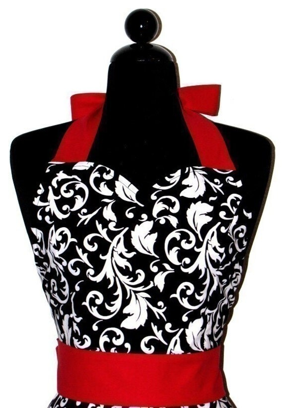 """Womens Damask Sweetheart Neckline """"Parisian"""" Apron - Sexy in Elegant Black and White with Red JESSIE Full Apron"""