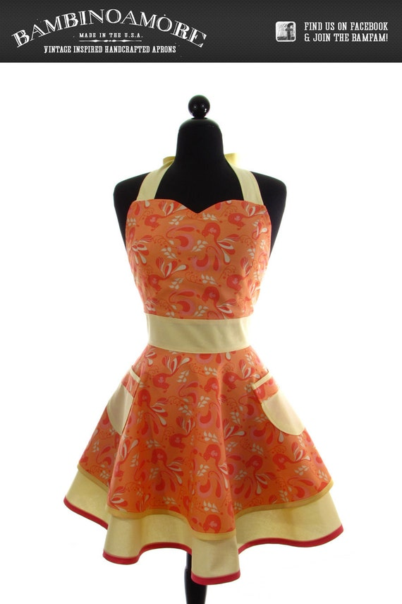 """Womens Sweetheart Neckline """"Retro Peacocks"""" Apron - Sexy in Peach and Yellow Floral Birds JESSIE Double Skirt Full Apron"""