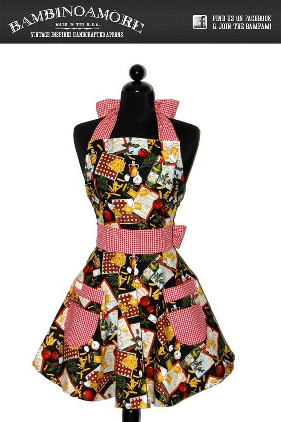 The ELEGANT ELOISE Vintage Inspired Yummy PASTA Hostess Full Apron
