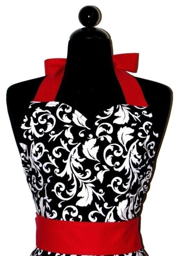 AUNT JESSIE'S Vintage Black\/White Parisian Fashionista Full Apron -- with a TWIST