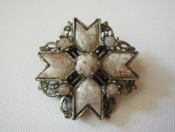 Vintage Maltese Cross Brooch