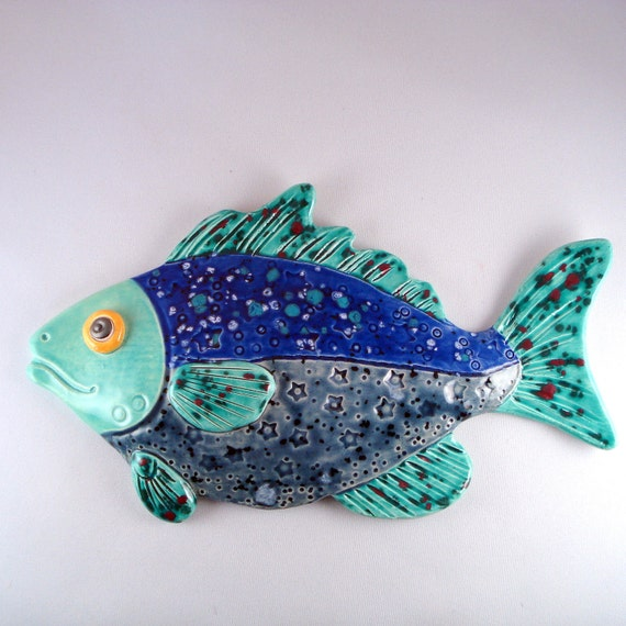 Whimsical ceramic fish decorative wall hanging for Ceramic fish sculpture