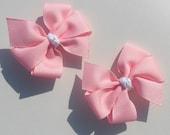 Pinwheel Bows- Set of 2- Baby Pink and White