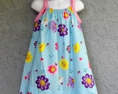 Happy Flowers Sundress- Ready to ship in 12m, 2T, and 3T