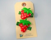 Strawberry Applique Hair Clips- Set of 2- Red and Green