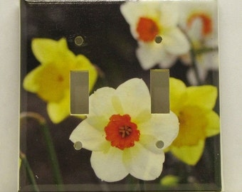 Switch to Spring 2 - Recycled Double Light Switch Plate Cover, Daffodils, Yellow, Orange, White, Garden, Flower, Seattle, Bright, Photo