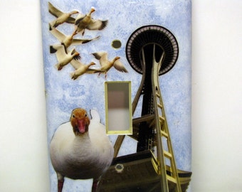 Sightseeing Geese - Single Recycled Light Switch Plate Cover, Snow Goose, Bird, Seattle, Space Needle, Flock, Fly, City, Collage, OOAK
