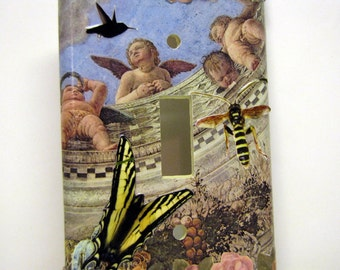 Things with Wings - Single Recycled Light Switch Plate Cover, Collage, Cherub, Angel, Butterfly, Bee, Hummingbird, Garden, Flower, OOAK