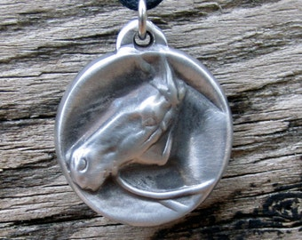 Horse Necklace - Silver Tone Cast from Pewter