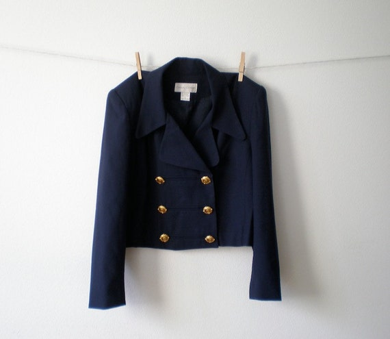 Vintage 80s Navy Blue Double Breasted Cropped SAILOR Nautical Military Blazer Jacket w/ Gold Buttons - M