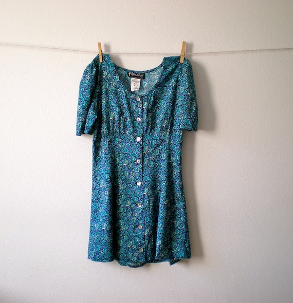vintage 80s blue floral button front mini dress - S