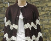 Vintage 1970s Crochet Brown and Ivory Cape