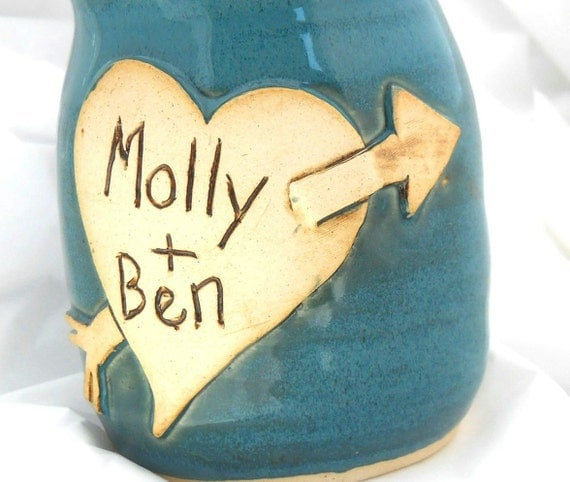 Ceramic Handmade Personalized Couple or Wedding Mug by Jewel Pottery Cup Each one Unique