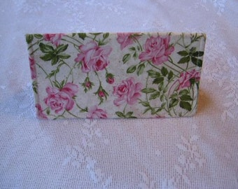 Shabby Pink Roses Checkbook Cover wallet