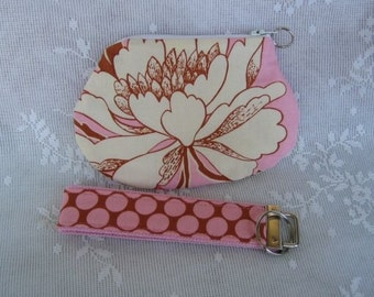 Amy Butler Peony on Pink Key Fob and Zipper Coin Pouch Set