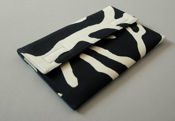 iPad mini, Nexus 7, Kindle Case. Padded Canvas Sleeve, Zebra. Made to order