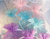 11 Sheer Organza Bags With Drawstrings and Beads
