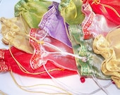10 Sheer Organza Bags With Drawstrings and Beads
