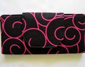 Large Bifold Wallet, Clutch, Black With Hot Pink Swirls