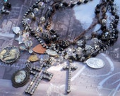 Mama Said Antique French  Rosary  AB Crystal Necklace & Earrings