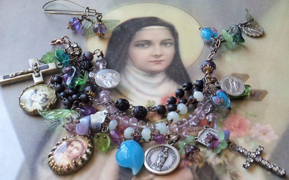 On a Cool Night Amethyst & Gemstone Antique Rosary Bracelet