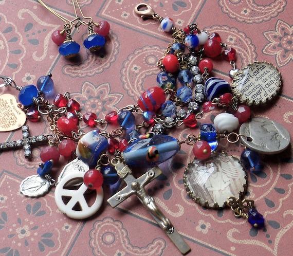 Some Gave All Patriotic Vintage Rosary  Antique Coin Bracelet