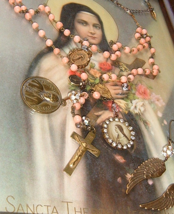 Where Have All The Flowers Gone Vintage Rosary Necklace