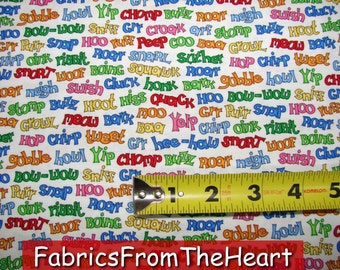 Animal Alphabet Sounds Words Zoo Nursery Moda Cotton Fabric